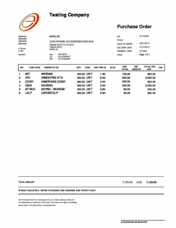sample of purchase orders