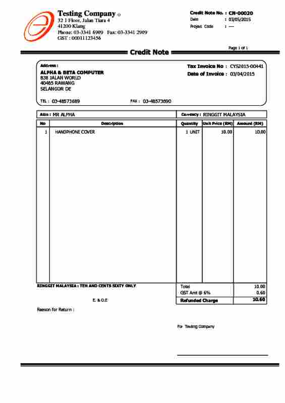 Great ... 03 Sales Credit Note  Format For Credit Note