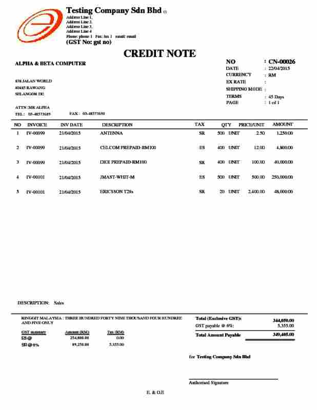Alpine Tech :: Sales Credit Note