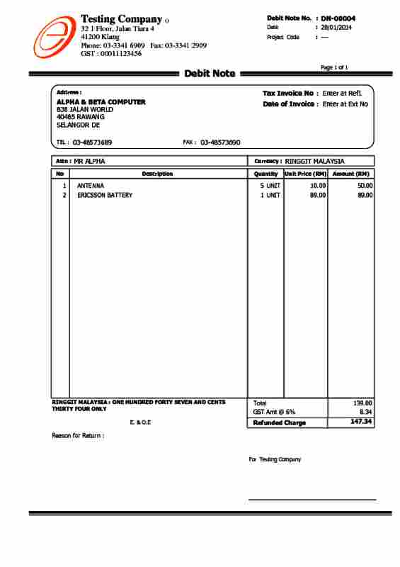Alpine Tech  Sales Debit Note