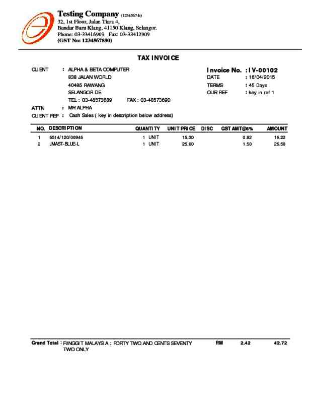 Alpine Tech  Sales Invoice